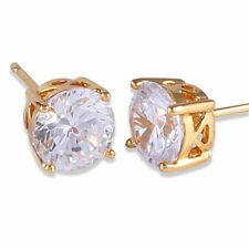 Pretty New 24k Yellow Gold Filled Round 4 Prong 7mm Clear White CZ Stud Earrings