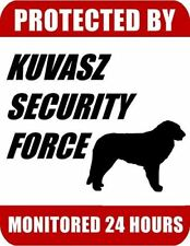 Protected By Kuvasz Security Force Monitored 24 Hours Laminated Dog Sign