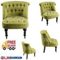Designer Green Tub Chair Sofa Lined Polyester Fabric Bedroom Lounge Armchair New