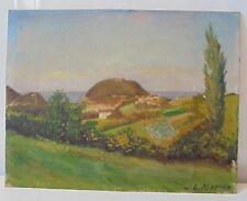 Tableau Pays Basque 1948 paysage San Sebastian Atlantique huile carton Euskadi