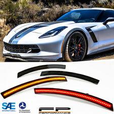 Wicked Smoke Lens Laser Style 4pcs LED Side Marker Lights For 14-19 Corvette C7