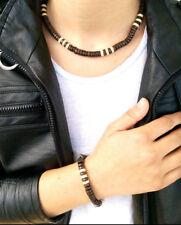 Halskette + Armband Set Herrenschmuck Surferkette Holzkette Schmuck Neu