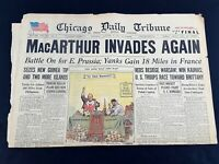 MacArthur Invades Again New Guinea 1944 Old Newspaper Chicago Tribune Aug 1