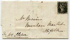 RARE DISTINCTIVE NORWICH Maltese Cross tying 1840 1d black pl 6 to cover