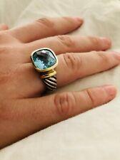 David Yurman Sterling Silver, 14K Gold, and Blue Topaz Ring - Size 7