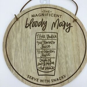 "Bar 9"" Round Bloody Mary Wood Look Recipe Wall Hanging Country Farmhouse Decor"