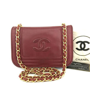 CHANEL Red Quilted CC Logo Push Lock Lambskin Mini Chain Shoulder Bag/90199