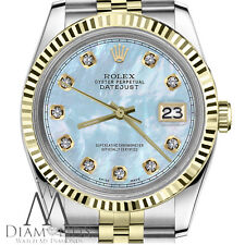2 Tone Rolex 36mm Datejust Baby Blue MOP Mother Of Pearl Dial with Diamond