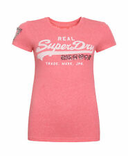 New Womens Superdry Unique Sample Vintage Logo Sequin T-Shirt Size Small Cherry