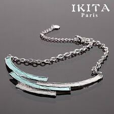 Luxus Statement Kette IKITA Paris Halskette Emaille Versilbert Collier Türkis