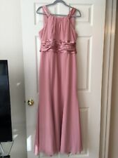 Davids Bridal Bridesmaid Dress Dusty Pink Long Maxi Formal Prom Gown Sz 14 12