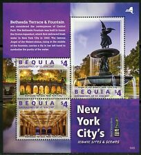 Bequia 2016 New York'S Iconic Sites & Scenes Set Of Two Sheets Mint Nh