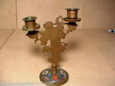 Antique Chinese Cloisonne & Brass Candelabra