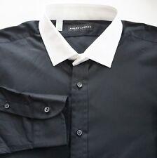 RALPH LAUREN BLACK LABEL Black White Collar 100% Cotton Long-Sleeve Shirt 17.5