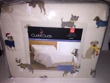"""CUDDL DUDS Queen Heavyweight Cotton Flannel Sheet Set """"DOGS""""Cream New In Package"""