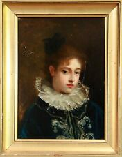 LEONIE LEBAS (c.1850-1910) SIGNED FRENCH OIL ON PANEL - PORTRAIT OF A YOUNG GIRL