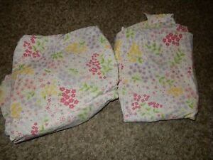 LN POTTERY BARN Kids Floral Flowers Twin Bed Flat & Fitted Sheet Set {Fabric}