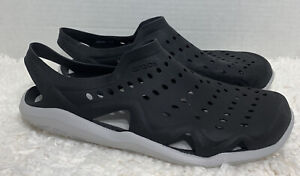Mens Size 10 Crocs Iconic Comfort Swiftwater Black Perforated Sandals