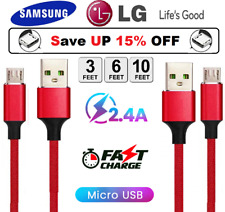 For Samsung Galaxy S7 S6 J7Edge Note5 Fast Charger 3/6/10FT Micro Usb Cable Cord