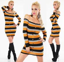Sexy Streifen Strick Long Pullover Mini Kleid