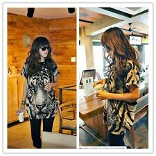 Women Tiger Head Print Short Sleeve T-Shirt Tee Tunic Top BLACK