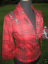 Nos Lip Service Red Plaid Tartan Moto Jacket Fitted Motorcycle Retro Punk Rock S