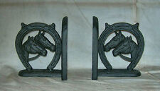 PAIR CAST IRON DOUBLE HORSE HEADS IN HORSESHOE BOOK ENDS -- BLACK FINISH