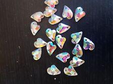 15 mm claro AB corazón cose en puntada del grano de Cristal Gema Joya Cristal Estrás