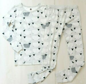 Tea Collection Pajama PJ Set Size 12 Gray Sheep Long Sleeve 100% Cotton