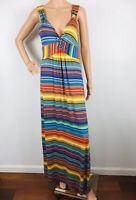 Spense Women's Maxi Dress Size L Rainbow Stripe Party Beach Cruise Stretch