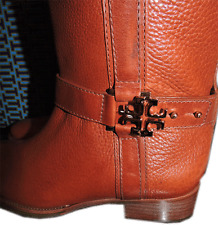 0b8c5f22c  495 Tory Burch  elina Riding Boot Tall Flat Equestrian Bootie 9.5 Gold Logo