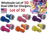 Wholesale Lot of 50 Dual USB Port (2.1 Amp /1 Amp) Universal Car Chargers