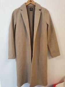 ZARA Wool Feel Long Open Coat Size M