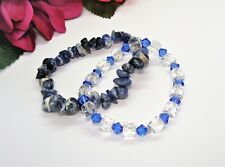 Pretty! 2 Sodalite Blue & Clear Crystal Beads Stretch Bracelets!