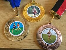 3 x CROSS COUNTRY MEDALS (40mm) GOLD,SILVER & B-FREE ENGRAVING,CENTRES & RIBBONS