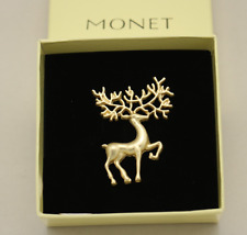 Monet Matt Gold Rendezvous Brooch Pin Caribou Brooch with box Christmas gift