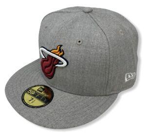 Miami Heat Men's New Era 59FIFTY NBA Basketball Classic Gray Fitted Hat Cap