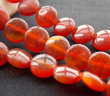 AAA 10mm Red Agate Onyx Coin Loose Beads Gemstone 15'' T-12