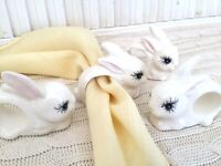MCM Vintage 4 Bunny Rabbit Ceramic Napkin Rings Easter Bunnies with Eye Lashes