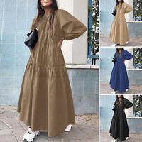 Women Oversized Puff Sleeve Elastic Waist Tiered Casual Loose Kaftan Baggy Dress