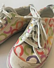 Coach Barrett White Multicolor Op Art Signature Sneakers Shoes Size 5 Pre-owned