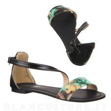 scarpe donna sandalo basso fibbia elegante ragazza