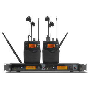 UHF In Ear Monitor Wireless System 2 channels transmitter 2 bodypack Receiver