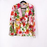 St. John Women's 100% Silk Blouse Floral Size 12 Long Sleeve Colorful Spring