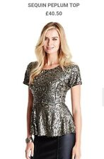 Ladies Sequin Top From Fashion World Size 16 In Gold Bnwt