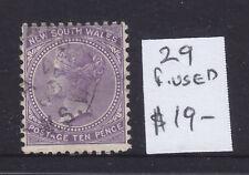 Nsw: 10 d Violet Qv Asc 29 V.F.Used