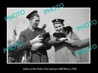 OLD POSTCARD SIZE PHOTO POLAND MILITARY POLISH NAVY SAILORS ORP BURZA c1940