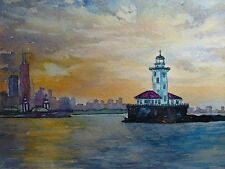 Painting Chicago Illinois Sunset Lighthouse Lake Michigan Skyscrapers 5x7 Art