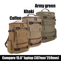 Men's Canvas Backpack Camping Travel Hiking Bag Rucksack Laptop Schoolbag Tote