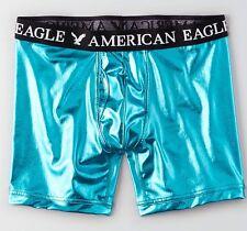 "American Eagle 6"" Classic Boxer Brief Underwear Metallic Teal Blue Small 29-31"